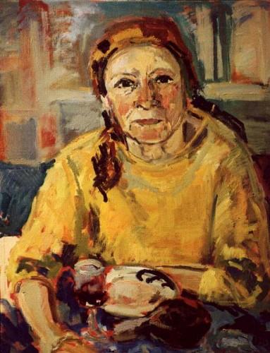 Fotograf: Eget fotoVærk  titel: Drikkende kvinde Værk  type: Maleri Materiale: Olie på lærred Størrelse: 70x80 cm. Færdiggjort: 1993 Placering: Nina Mildhede, Århus