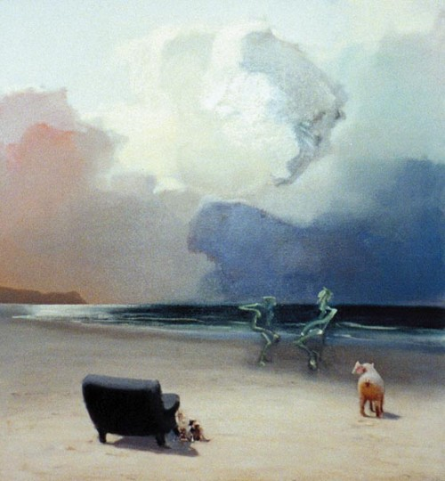 Fotograf: Erik MeistrupVærk  titel: Grøn Svinedans Værk  type: Maleri Materiale: Olie på lærred Størrelse: 102x92 cm Færdiggjort: 1998