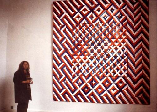 Fotograf: Johan AlexanderVærk  titel: Kakkelbillede Værk  type: Maleri Materiale: Olie på masonit Størrelse: 350 x 350 cm Færdiggjort: 1983