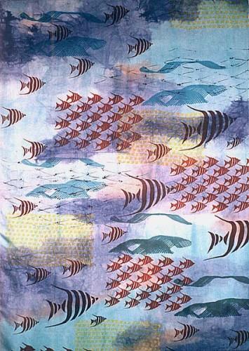 Fotograf: Eget fotoVærk  titel: Blå fiskestime - udsnit Værk  type: Rumdeler Størrelse: 180 x 90 x 10 cm Færdiggjort: 1996