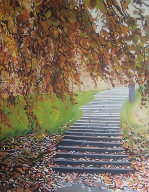 Løvfald over trappe i park ved Sct. Clemens kirke i Randers, 70 x 90 cm. 8000 kr. Flere informationer kan ses på www.mariefredborg.dk