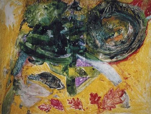 Fotograf: Eget fotoVærk  titel: Elantic Værk  type: Mixed media Materiale: Olie, akvarel og bivoks på papir Størrelse: 500 x 100 cm Færdiggjort: 1998