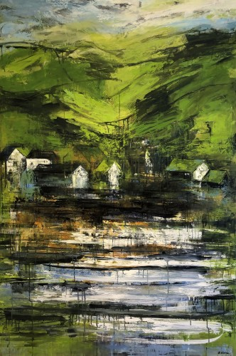 Village by the Sea.  Painting on canvas - 180 x 120 cm.